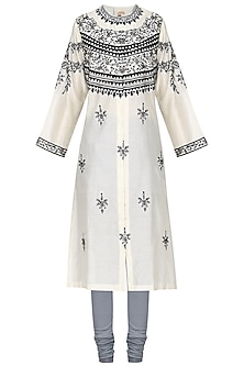 Off White Zari and Thread Embroidered Kurta with Churidar Pants