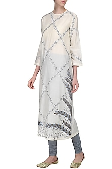Off White Thread Embroidered Kurta with Churidar Pants by Samant Chauhan