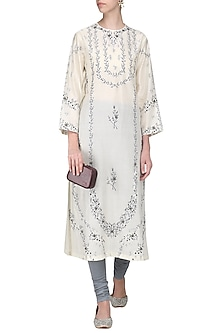 Off White Zari Embellished Kurta with Churidar Pants by Samant Chauhan
