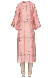 Peach Embroidered Kurta with Churidar Pants