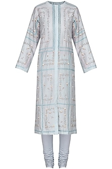 Powder Blue Embellished Kurta with Churidar Pants