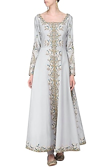 Mauve Front Open Embroidered Anarkali Gown by Samant Chauhan