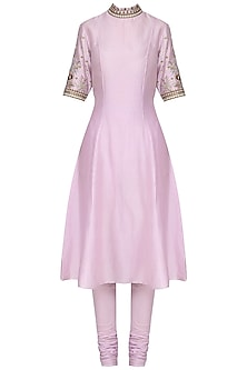 Mauve Embroidred Kurta with Churidar Pants