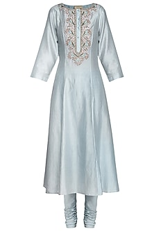 Powder Blue Zari Embroidered Kurta with Churidar Pants