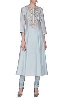 Powder Blue Zari Embroidered Kurta with Churidar Pants by Samant Chauhan