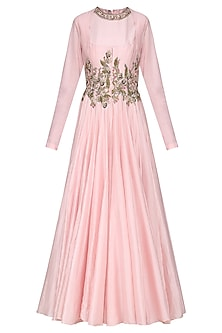 Pink Embroidered Anarkali Gown by Samant Chauhan