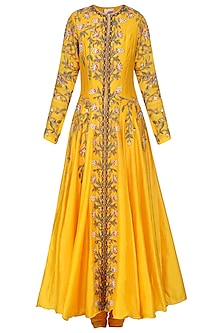 Orange Embroidered Anarkali Gown Set