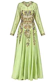 Parrot Green Embroidered Anarkali Gown Set by Samant Chauhan