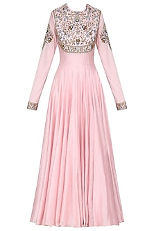 Pink Embroidered Anarkali Gown Set