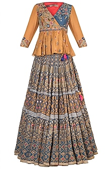 Mustard & Blue Embroidered Lehenga Set