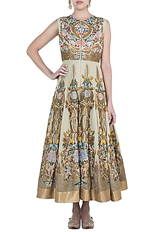 Gold Embroidered Shimmer Anarkali Gown by Samant Chauhan