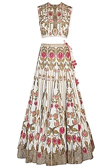 Off White Embroidered Cotton Silk Lehenga Set
