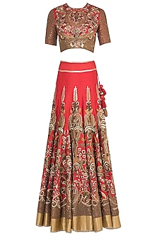 Red Embroidered Lehenga Set