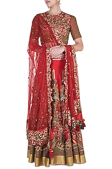 Red Embroidered Lehenga Set by Samant Chauhan