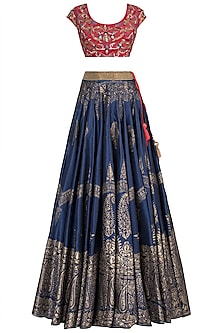 Navy Blue Embroidered Printed Lehenga Set by Samant Chauhan