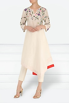 Off White Embroidered Asymmetrical Kurta with Churidar Pants by Samant Chauhan
