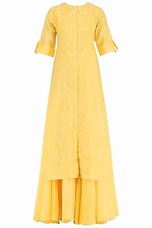 Yellow Embroidered Layered Kurta by Samant Chauhan