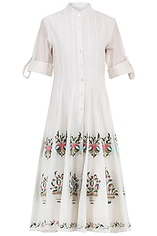 Off White Multi-Colour Embroidered Midi Shirt Dress by Samant Chauhan
