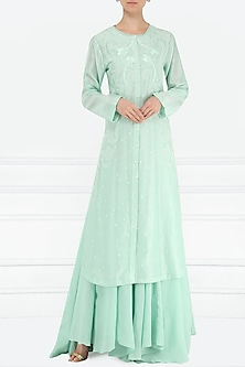 Turquoise Embroidered Layered Kurta by Samant Chauhan