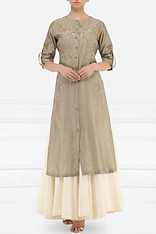 Grey And White Thread Embroidered Layered Kurta by Samant Chauhan