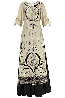 Black And Grey Multi-Colour Thread Embroidered Layered Kurta by Samant Chauhan