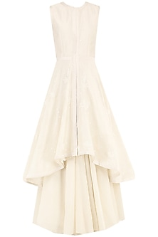 Off White Asymmetrical Embroidered Layered Kurta by Samant Chauhan