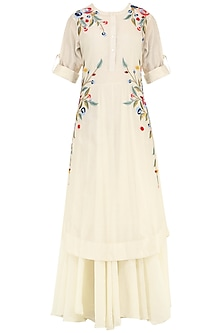 Off White Multi-Colour Floral Embroidered Layered Kurta