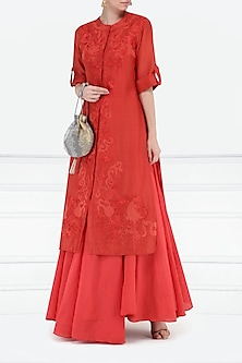 Red Embroidered Layered Kurta by Samant Chauhan