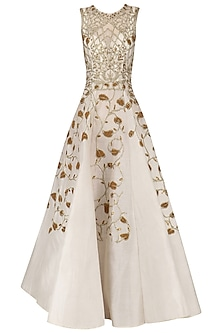 Off White Gold Zari Embroidered Gown by Samant Chauhan
