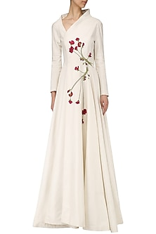 Off White Embroidered Gown by Samant Chauhan