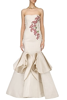 Off White Embroidered Off Shoulder Gown by Samant Chauhan