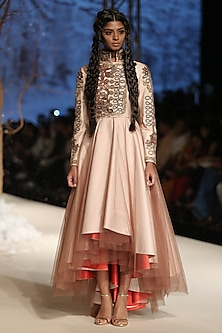 Beige Dori and Zari Embroidered Layered Asymmetric Dress by Samant Chauhan