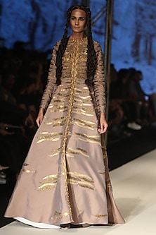 Grey Dori and Zari Wave Embroidered Gown by Samant Chauhan
