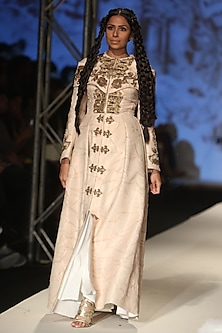 Light Gold Zari and Dori Work Panelled Gown by Samant Chauhan