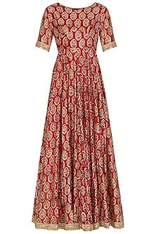Red Embroidered & Printed Anarkali Set by Shalini Dokania