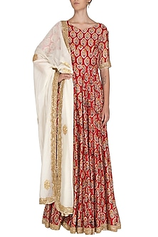 Red Embroidered & Printed Anarkali Set by Shalini Dokania