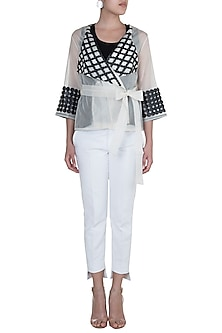 White Patterned Circle Wrap Top by Suede by Devina Juneja
