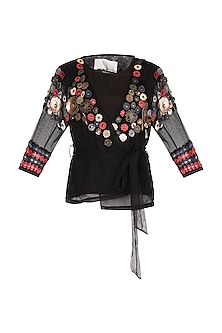 Black Embellished Floral Wrap Top by Suede by Devina Juneja