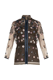 Brown Embellished Floral Jacket With Inner by Suede by Devina Juneja