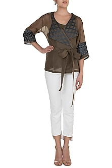 Khaki Brown Circle Wrap Top by Suede by Devina Juneja