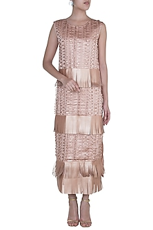 Rose Gold Metallic Fringe Patterned Dress by Suede by Devina Juneja