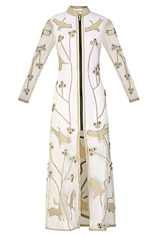 Nude Applique Work Front Open Trench Dress