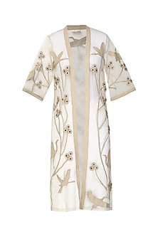 Nude Applique Work Front Open Kimono Jacket