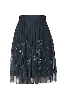 Navy Blue Applique Work Knee Length Skirt