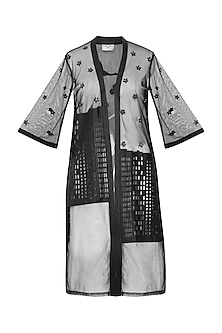 Black Applique Work Front Open Kimono Jacket