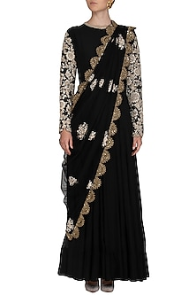 Black Embroidered Anarkali Set by Shalini Dokania