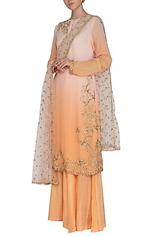 Pink To Peach Shaded Embroidered Sharara Set by Shalini Dokania
