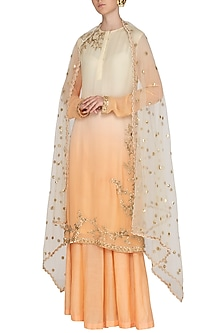 Off White To Peach Shaded Embroidered Sharara Set by Shalini Dokania