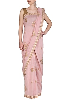 Baby Pink Embroidered Saree Set by Shalini Dokania