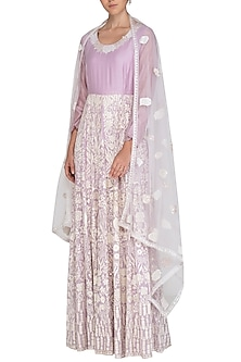 Lavender Embroidered Anarkali Set by Shalini Dokania